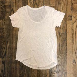 J. Crew White Linen T-Shirt Size Small
